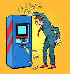 Damaged atm and angry man vector