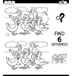 differences color book with hens and roosters vector image