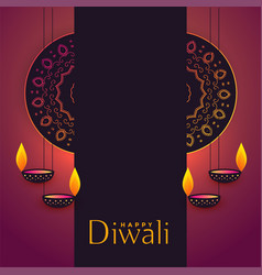 Diwali festival greeting background with text vector