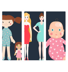 Dolls toy character cards game dress and farm vector