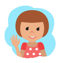 drawing of icon little girl in the cloud vector image
