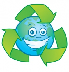 Earth cartoon with recycle symbol vector