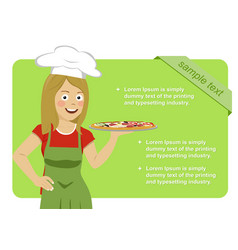 female italian chef holding pizza vector image