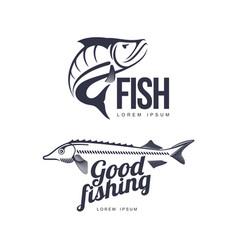 Fish flat icon pictogram silhouette set vector