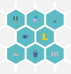 Flat icons spray bottle lawn mower rubber boots vector