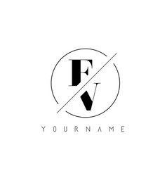 fv letter logo with cutted and intersected design vector image