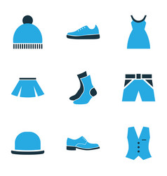 garment icons colored set with half-hose pompom vector image