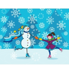 Girl with snowman skating vector