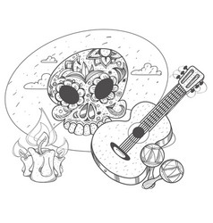 guitar maracas skull and guitars coloring of a vector image