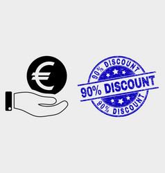 hand offer euro coin icon and distress 90 vector image