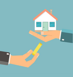 Hand with money and hand with house sale lease vector