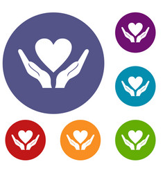 Hands holding heart icons set vector