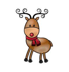 Happy cartoon christmas reindeer with scarf vector