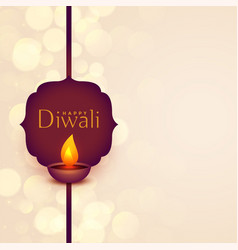 Happy diwali festival wishes background with text vector