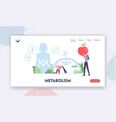 Human metabolism landing page template tiny vector