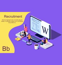 isometric recruitment concept vector image