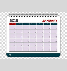 January 2019 calendar planner design template vector