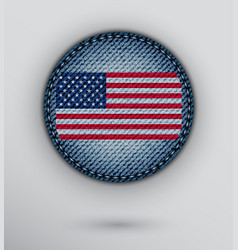 jeans circle with usa flag vector image