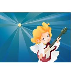 kid angel musician guitarist flying on a night sky vector image