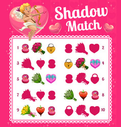 Kids game shadow match with valentine cupid vector