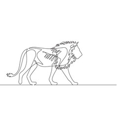 lion continuous line vector image