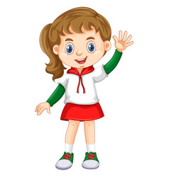 little girl waving hand vector image