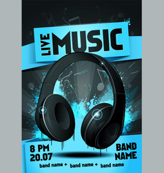 live electro music party invitation poster vector image