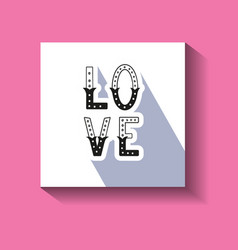 Love hand written word with decor elements on card vector