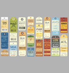 luggage tags and tickets for passenger with vector image