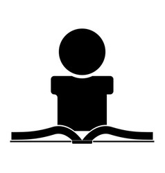 Man reading book the black color icon vector