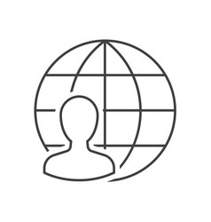 man with globe icon vector image
