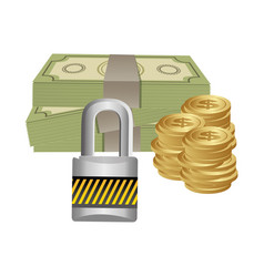 many cash money with padlock security vector image