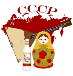Matryoshka vodka balalaika vector