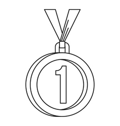 Medal for first place icon outline style vector