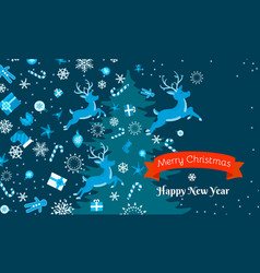 merry christmas and happy new year concept banner vector image