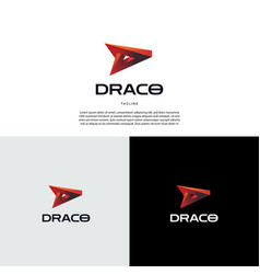 modern red letter mark d logo design symbol icon vector image