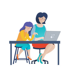 Mom and kid daughter using computer together vector