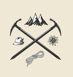 mountain hiking outdoor vintage icon flat web sign vector image
