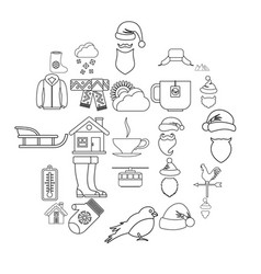 mountains icons set outline style vector image