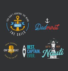nautical vintage prints designs set for t-shirt vector image