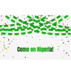 nigeria garland flag with confetti on transparent vector image