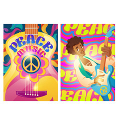 Peace music posters with hippie sign and guitar vector