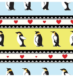 Penguin heart background vector image
