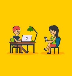 people work in office design flat vector image vector image