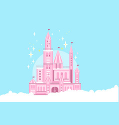 Pink princess castle in white clouds fairy tale vector