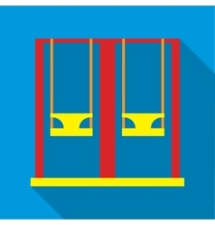 Playground swings icon flat style vector