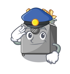 Police cartoon deep fryer in the kitchen vector