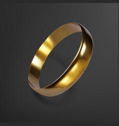 Realistic gold wedding ring 3d render golden vector