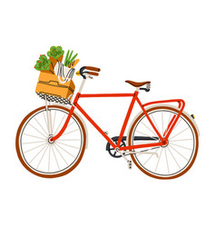 red bicycle with flowers and groceries in a vector image