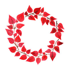 red bush wreath watercolor for autumn vector image